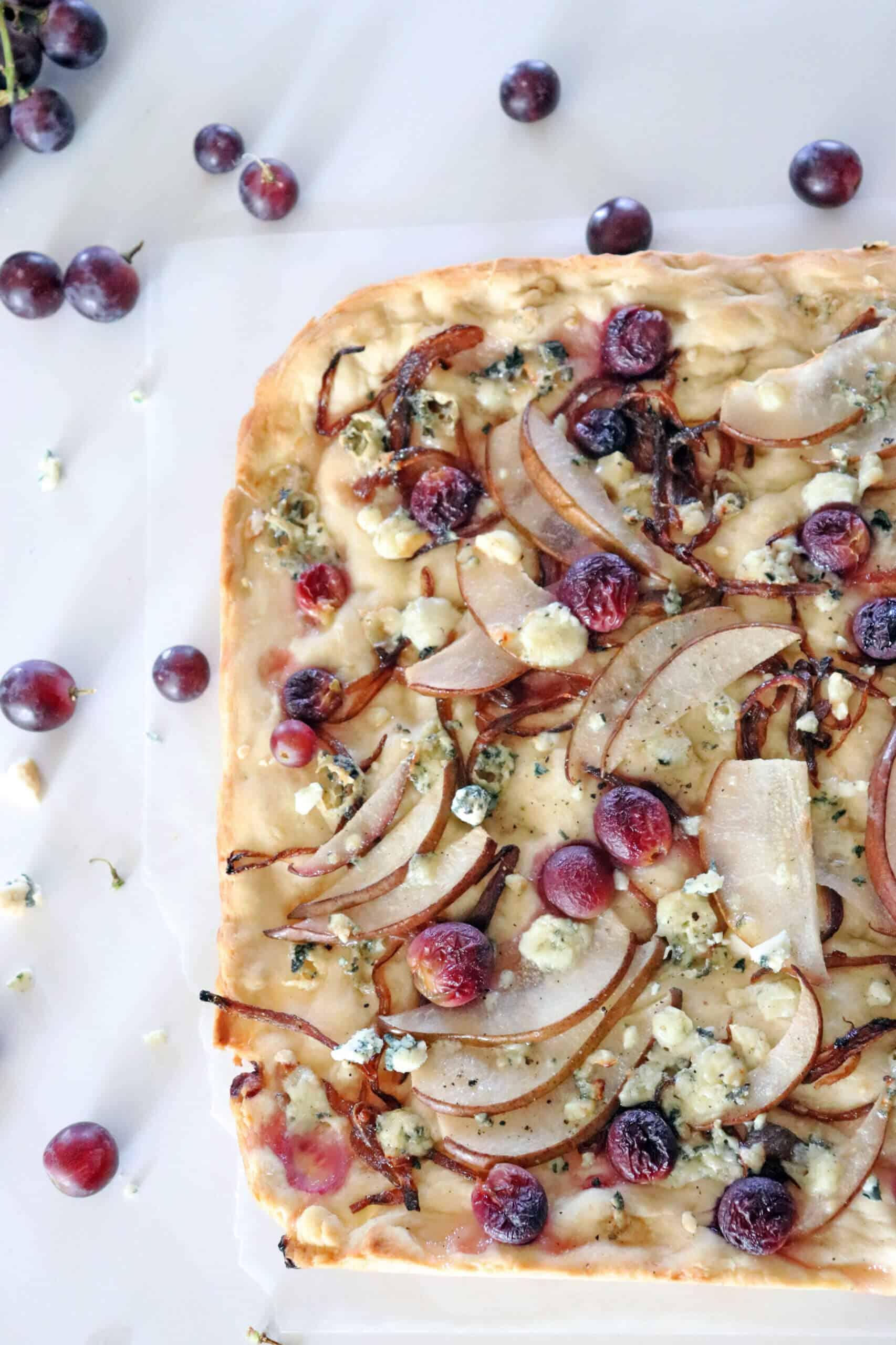 Pear, Grape, Blue Cheese Focaccia Top Quarter