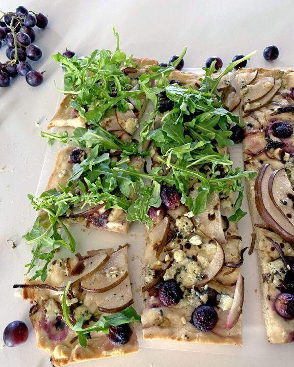 Pear, Grape, Blue Cheese Focaccia With Arugula