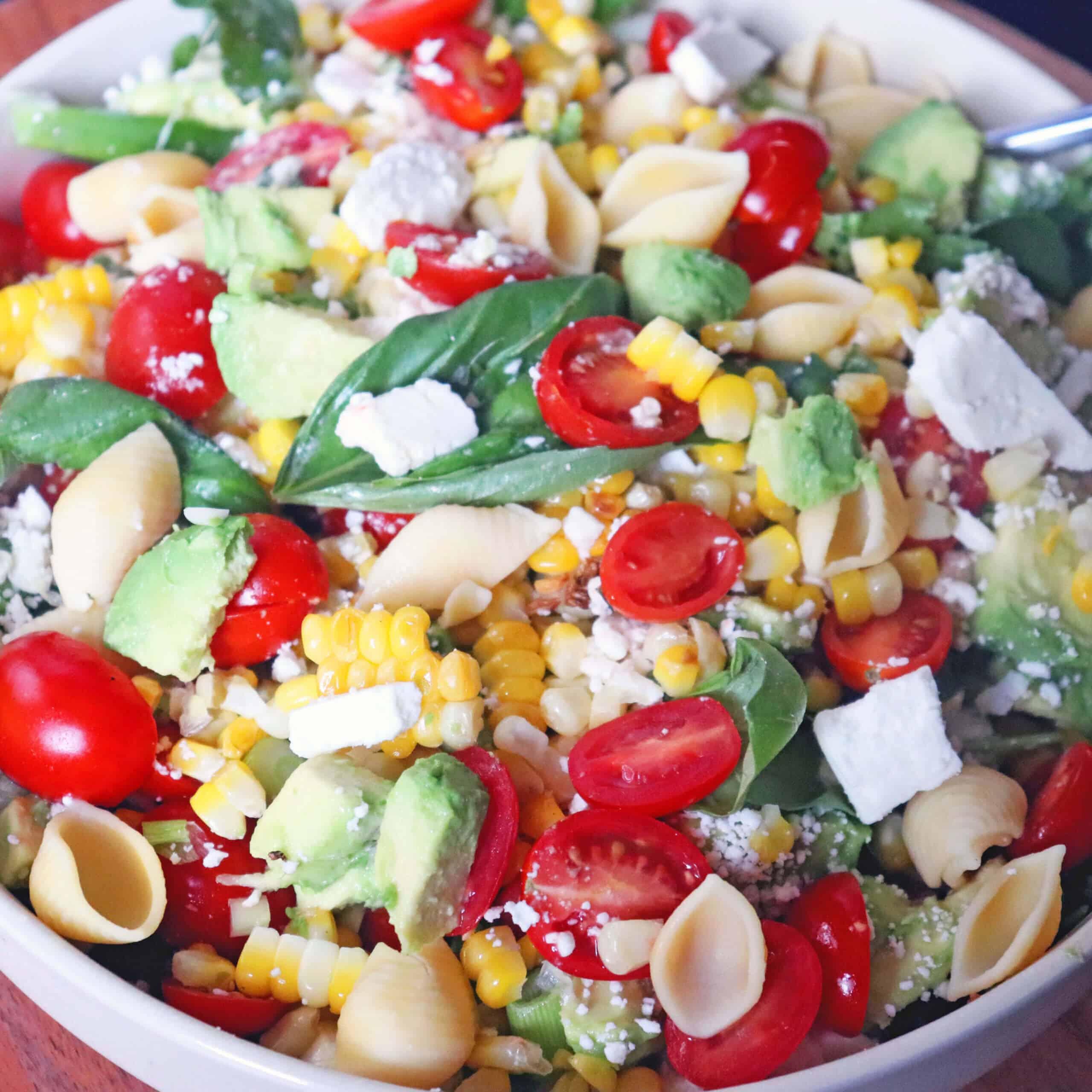 Up  close of corn avocado salad.