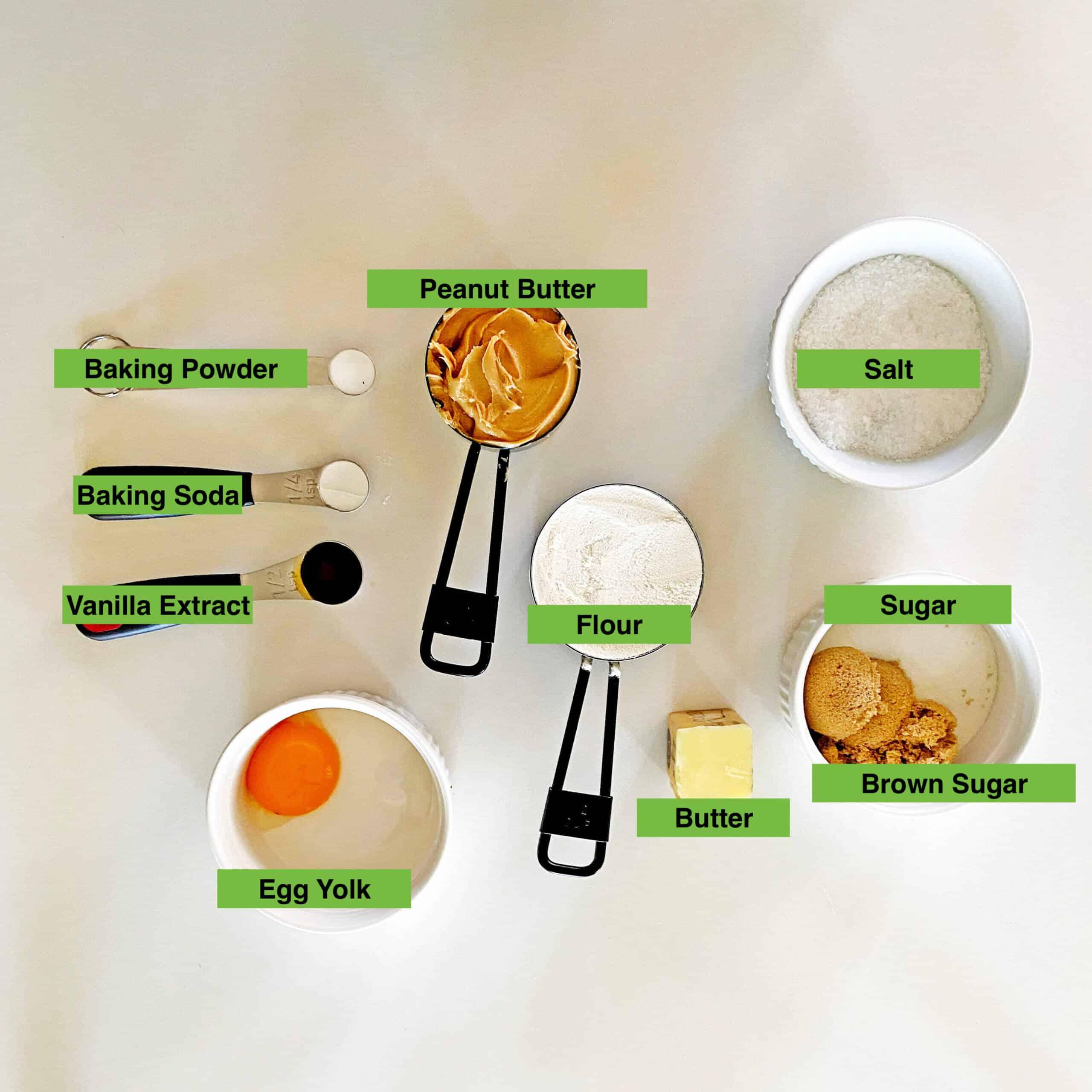 Ingredients used in making the cookies