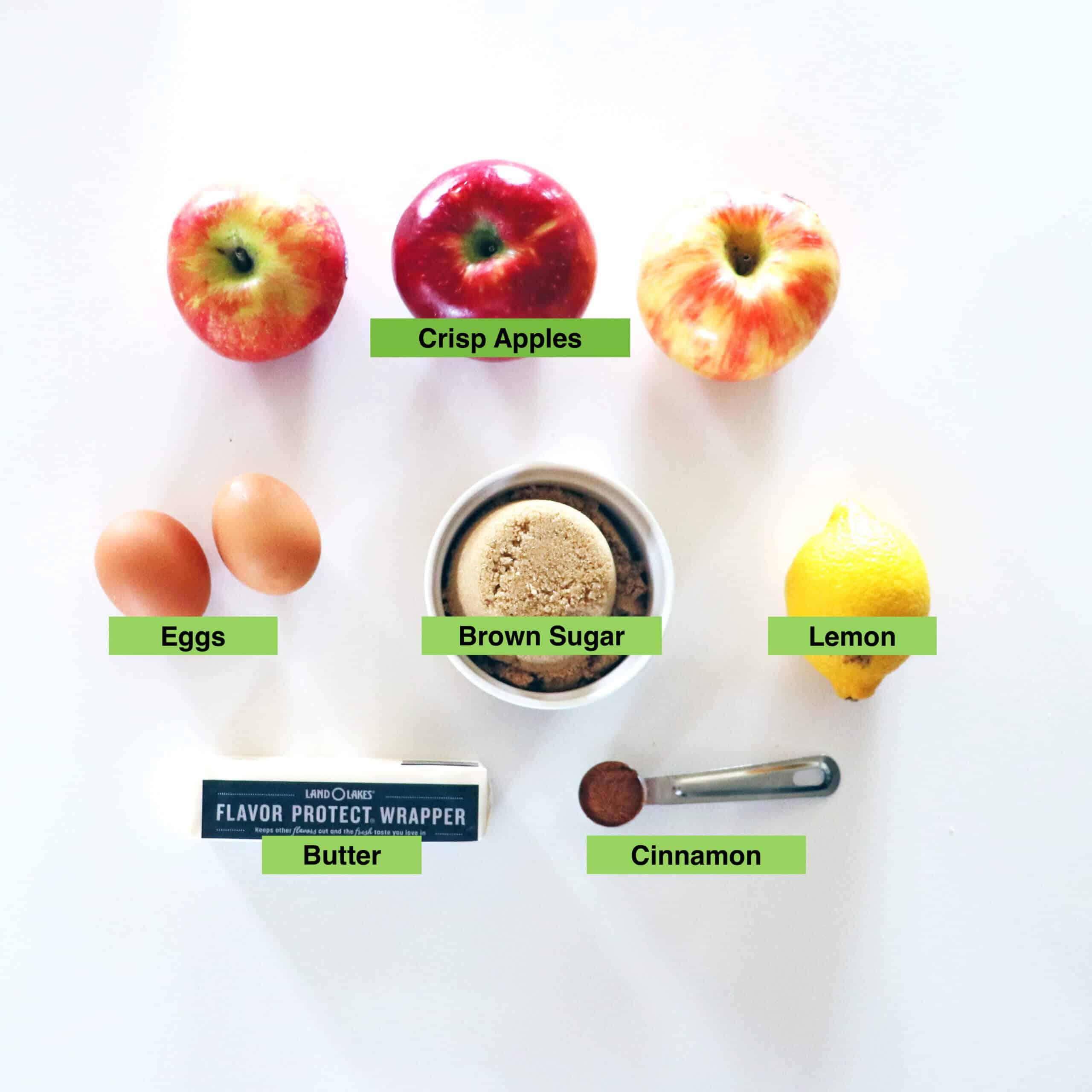 Apple Curd Ingredients (apples, eggs, brown sugar, lemon, butter, and cinnamon)